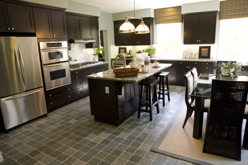 Custom kitchen remodeling with a tile floor
