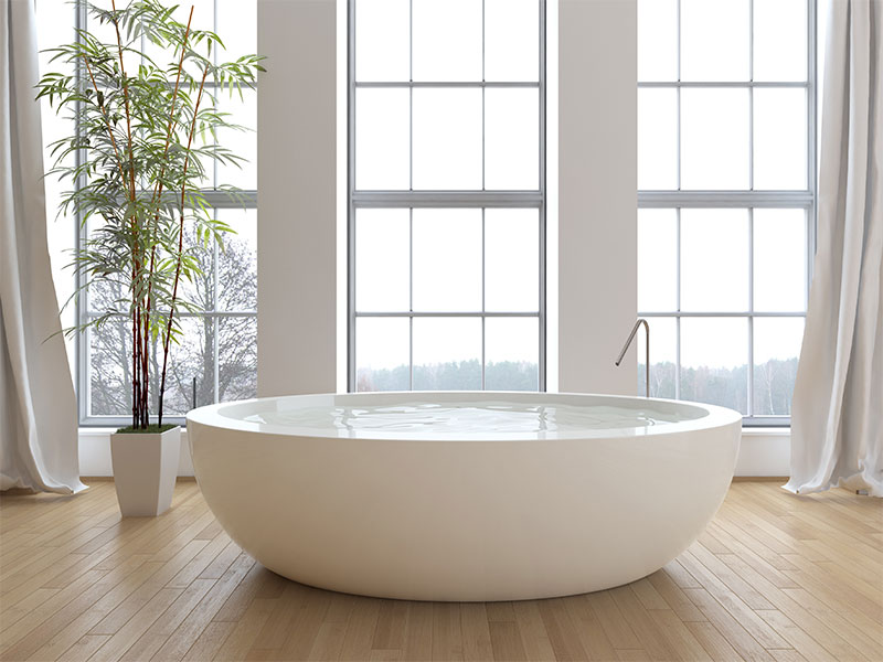installed stand alone bathtub