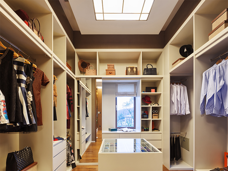 Jacksonville Custom closet with overhead and natural lighting