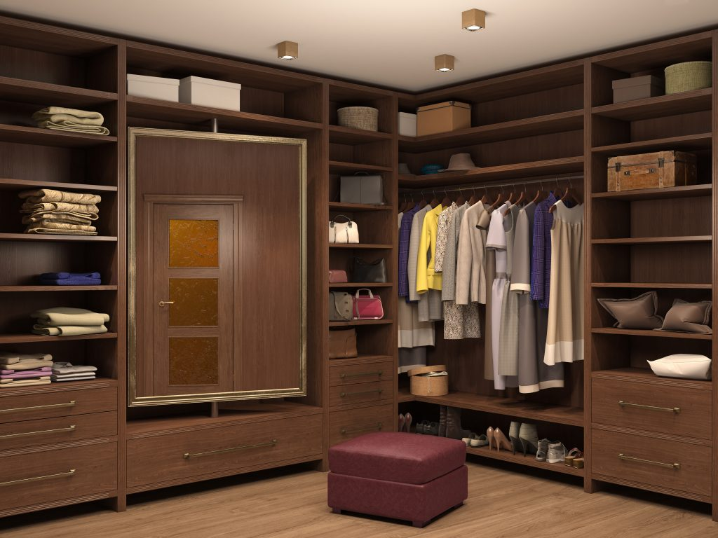 Custom closet with revolving mirror