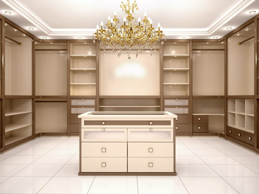 Jacksonville Custom Closet With Large Chandelier