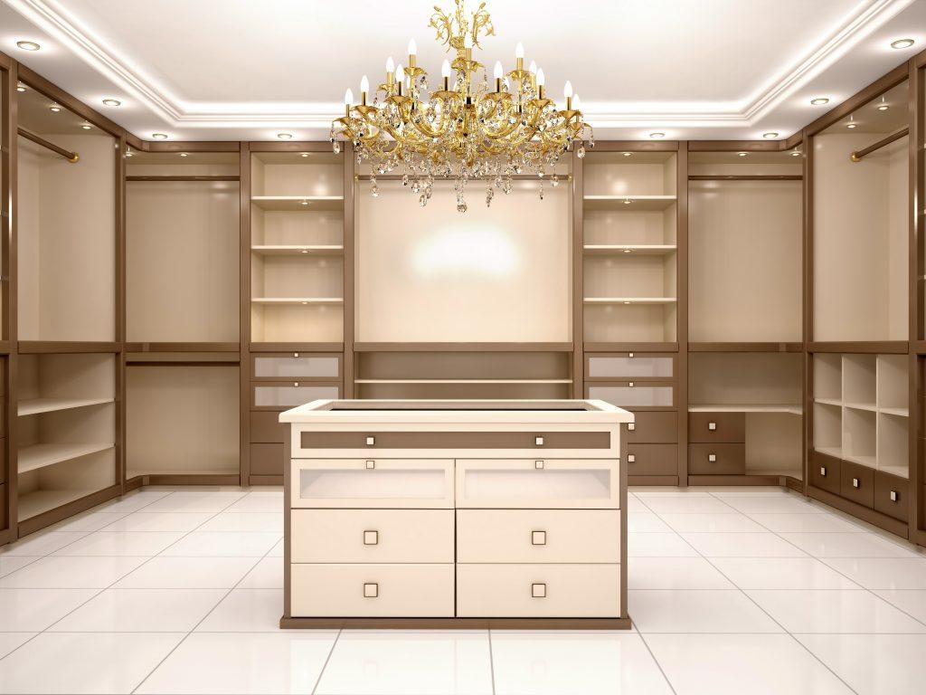 Jacksonville Custom closet with large chandelier