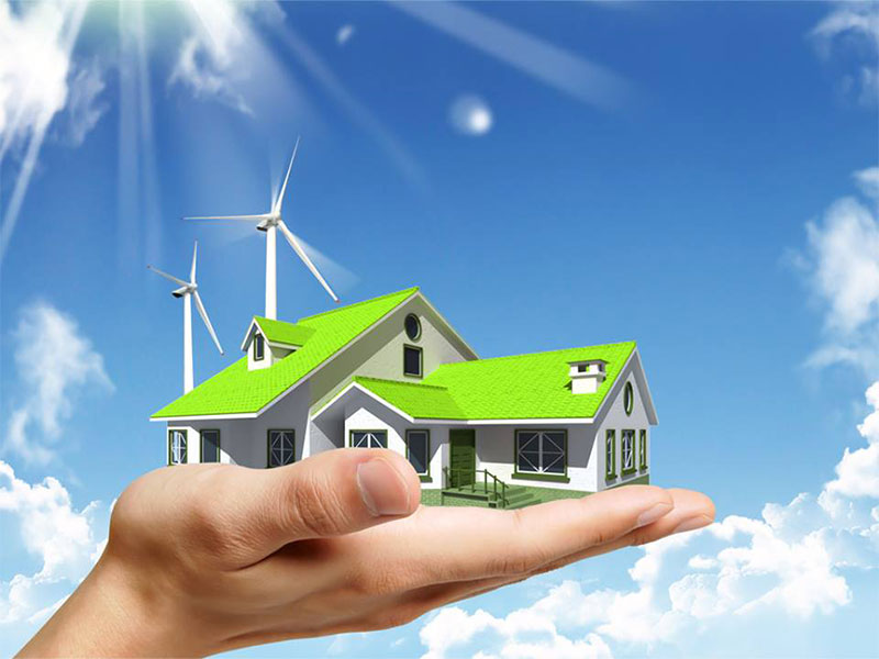 Green home with wind power turbines in Jacksonville FL